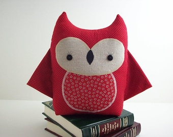Owl pillow plush in red, owl stuffed toy, owl room decor, baby shower gift