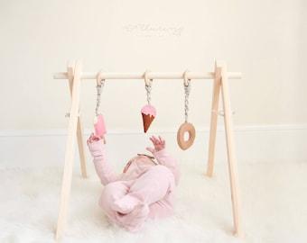 En bois pliable bébé jouer salle de Gym, livraison rapide, respectueux de l'environnement, un rangement facile, jouets suspendus non inclus
