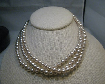 "Vintage Japan Pearl Necklace/Choker, Rhinestone Ends, 15"", 6mm, Triple-Strand, Silver Tone"