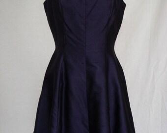 1950s Dress / Navy Raw Silk Party Dress w Fringe & Bow Detail