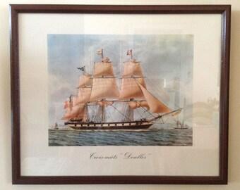 "Vintage Watercolor Framed Print - Antoine Roux – Golden Age of the Sailing Ships – Trois-Mâts ""Denlles"