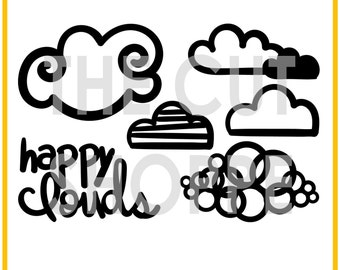 The Happy Clouds cut file set includes 5 cloud themed images, that can be used on your scrapbooking and papercrafting projects.