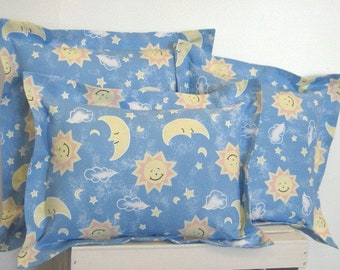Baby Pillow Covers Set, Nursery Decor, Baby Shower Gift, Kids Room Decor, Blue Pillow Covers, Sun, Moon, Stars, New Baby Gift, Made to Order