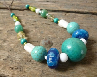 Turquoise and Green Necklace, turquoise necklace, green necklace, beaded necklace, statement necklace, green turquoise, gift for her, boho
