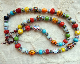 Speckle, Chevron and Crumb - Vintage Mix Glass Trade Bead Necklace