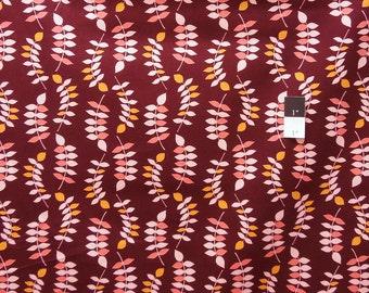 Valori Wells LVW02 Jenaveve  Leaves Merlot LINEN Blend Fabric 1 Yd