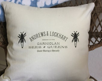 CLEARANCE - French Bee Linen Pillows - Vintage French Advertisment - Insert Included