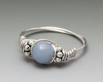 Angelite Celestite Bali Sterling Silver Wire Wrapped Gemstone Bead Ring - Made to Order, Ships Fast!
