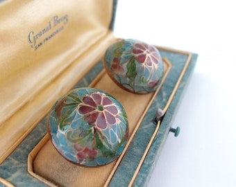 Plique a Jour Stained Glass Earrings round large button dome ball shape pierced posts Turquoise blue Green Rose Red Translucent Enamel