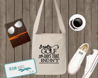 Golf Canvas Sling Bag, Over Shoulder Bag, Market Tote, Messenger Bag,  golf bag, gift for mom. gift for her,