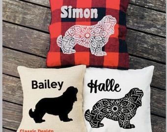 Cavalier King Charles Pillow - Silhouette Pillow - Personalized Dog Pillow Cover - Burlap Pillow - Buffalo Plaid Pillow - Decorative Pillow