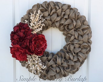 Stunning burlap wreath accented with cream spray and red flowers. Spring burlap wreath, Summer burlap wreath, Fall burlap wreath