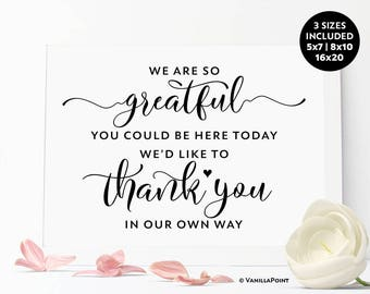 We Are So Greatful Sign, Wedding Favors For Guests, Wedding Thank You Favors, Wedding Favors Thank You Sign, Wedding Favor Sign Printable