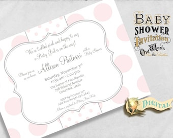 Polka Dot Baby Girl Shower Invitation in Pink and White - Personalized Custom Printable Baby Shower Invite - 5x7 Digital File