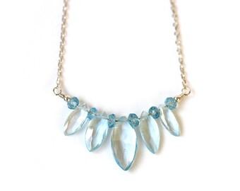 Boho Blue Topaz Choker, Pale Blue Gemstone Necklace, Romantic Bridal Jewelry, Sterling Silver, Dainty Sky Blue Pendant, Gift for Girlfriend