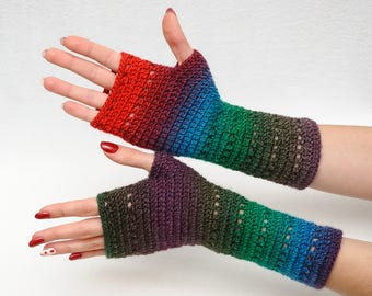 Crochet Fingerless Gloves crochet Arm Warmers Wrist Warmers Hand warmers Bright gloves Womens Gloves Girlfriend Gift Wife Gift Winter Gloves