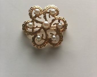 14K Gold & Pearl Antique Brooch