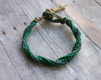 Surfer Macrame Hemp Bracelet Green Steelgray Double Twist Knot  Bracelet Rare Style