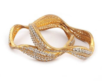 MEMORIAL DAY SALE 2 Pcs 24 Ct Gold Plated Cubic Zirconia Leaf Bangles - Best Quality 24 Ct Gold Plated Bangle Size:2.45 Cz043