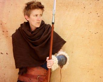 Distressed Brown Woven Shawl, Leather War Belt, Leather Fur Vambrace, barbarian wildling peasant viking, fur leather armor Moyamensing