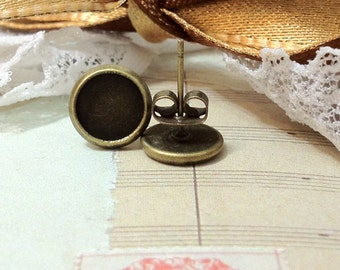 12 mm (fit for 10 mm glass button) Antiqued Bronze Earring Posts With Earring Stoppers. (.sg)