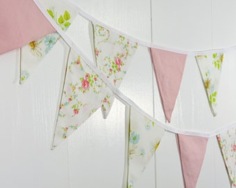 Pink Flower Pennant Flags / Baby Bunting Flags / Flower Bunting Flags