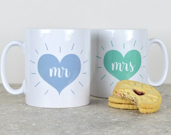 Mr and Mrs mugs - personalised, various colours