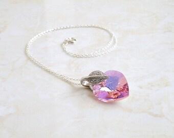 Pink Swarovski Crystal Heart Necklace CZ Sterling