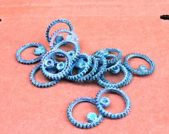 SPUR steampunk GEAR - Verdigris patina 4 pcs