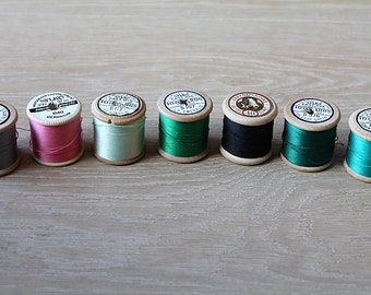 Vintage Sylko & Coats Cotton Reels/ Wooden Spools/ Embroidery Threads/ Haberdashery/Craft Supplies and Tools/ Sewing/ Embroidery (Set 3)