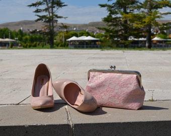 Bridal Wedding Clutch Powder Pink Purse Lace Bridal Accessories-Bridesmaids clutches,Bridal Clutch,Bridesmaid clutch, Wedding Clutch,