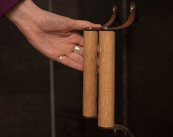 "Wood Drawer Handle - The ""Sellwood"" Small 9.5"" C2C - Leather Cabinet Door Handles and Drawer Pulls"