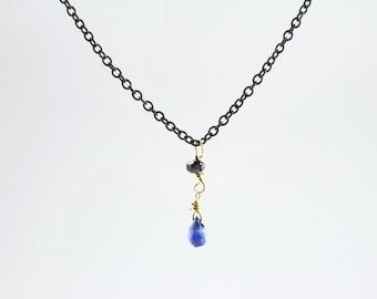 Teeny Tiny Deep Blue Sapphire Briolette and Black Diamond Bead on Oxidized Silver Chain