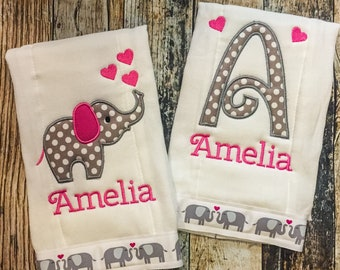Elephant Girl's Burp Cloth - Personalized Burp Cloths - Monogrammed Nursery Burp Cloth Set - Pink and Gray Baby Shower Gift