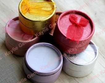 5 Jewelry Ring Earring Gift Box Container Case Round Cylinder Top Ribbon Pre-Cut Foam Inside - Pick your color