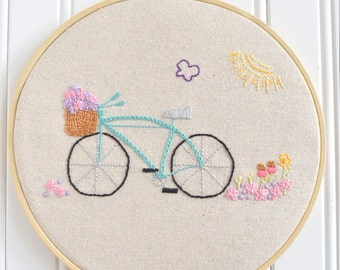 Garden Bicycle (PDF Embroidery Pattern)