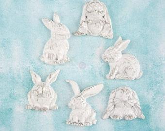Prima Shabby Chic Treasures Collection Ingvild Bolme Resin Rabbits Embellishments Bunnies
