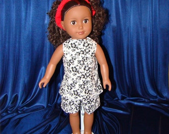 """For American Girl Style 18"""" Dolls, Summer Doll Clothes n Shoes too; Black & White Short Outfit! School or Playground Doll Clothes"""
