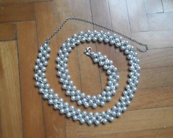 Vintage Beaded Pearl Belt,Silver Metal Ivory Pearls Belt,Ceremonial Ivory Belt,Vintage Beaded Pearls Wedding Belt