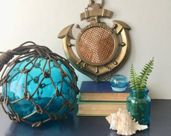 vintage brass anchor mirror nautical beach decor