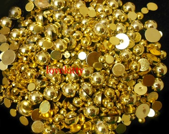 NEW !!! 800 pieces Gold High Gloss Mixed Sizes Flatback Pearl Cabochons