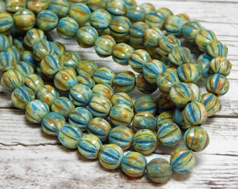 6mm - Czech Glass Beads - Picasso Beads - Fluted Beads - 6mm Beads - Czech Beads - Melon Beads - Round Beads - 25pcs - (5366)