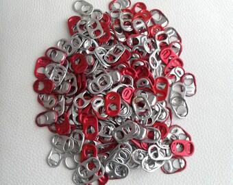 100 aluminium Beer peut Pop onglets rouge, argent ou mélange de rouge et argent