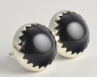black onyx 10mm sterling silver stud earrings