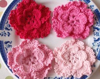 4 Crochet Flowers In Lt pink, Pink, Bubblegum pink, Shocking pink YH-127-02