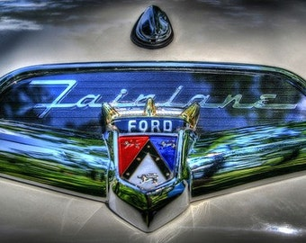 Automotive Art, Classic Car Decor, Vintage Car, Ford Decor, Garage Decor, Boys rooms decor, Ford Fairlane emblem