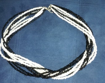 ON SALE! 9 strand 20' necklace in black and white Seed Beads