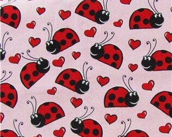 Happy Ladybugs on Pink Fabric - - 100% Cotton Quilting Apparel Crafts Home decor