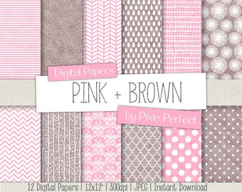 Pink and Brown Digital Paper - PINK AND BROWN Paper Pack Scrapbook Paper Backgrounds Instant Download Commercial Use ok Cu4Cu (73)