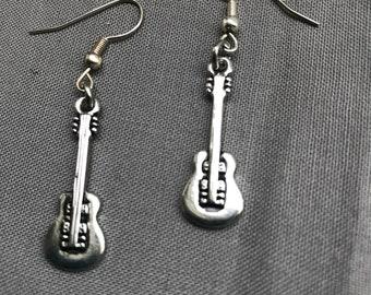 Silver guitar earrings